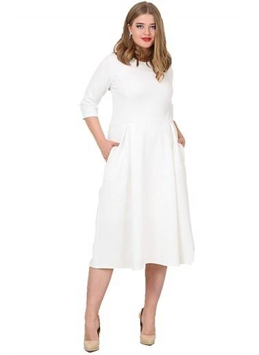 Angelino Butik Büyük Beden Cepli Elbise Beyaz KL778 Beyaz